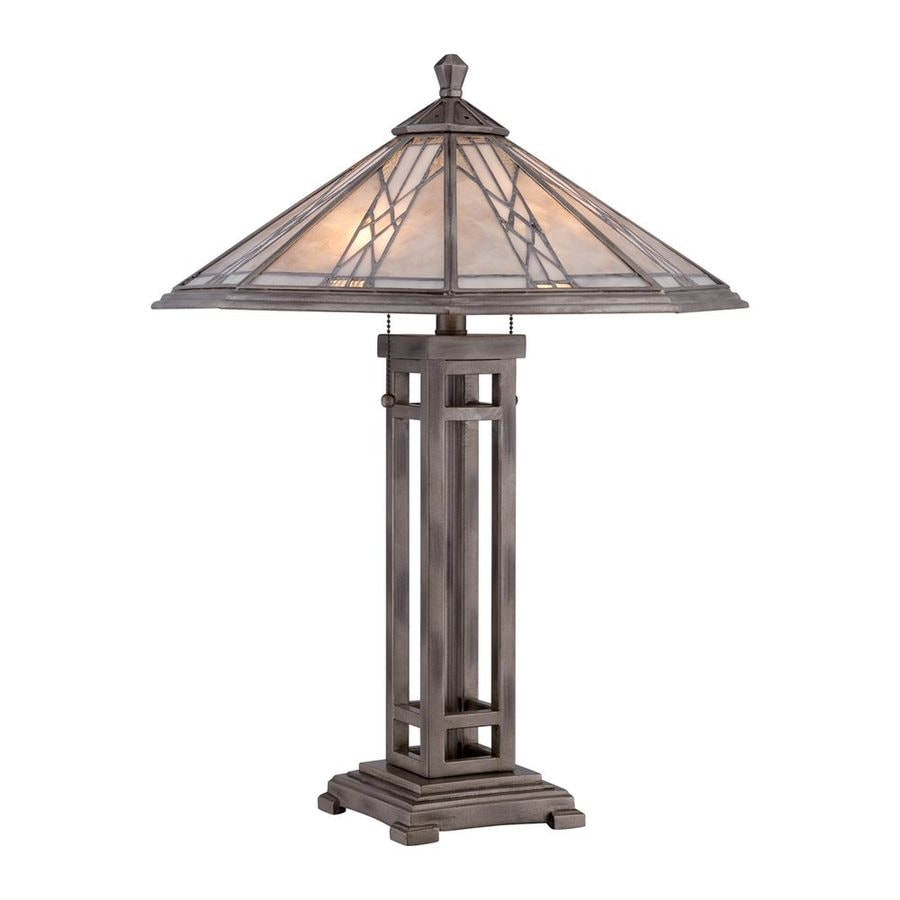 Quoizel Cyrus 25-in Anniversary Silver Table Lamp with Mica Shade