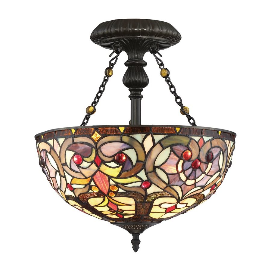 Quoizel Carroll 14.25-in W Vintage bronze Stained Semi-Flush Mount Light