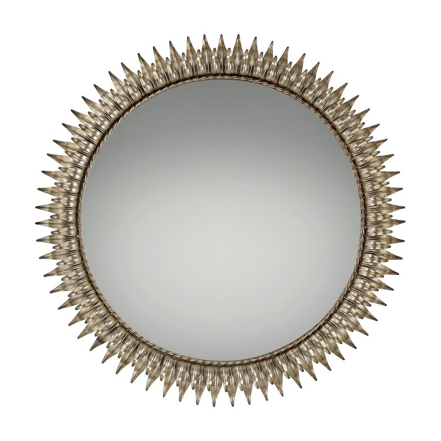 Quoizel Reflections 36-in x 36-in Gold Beveled Round Framed Sunburst Wall Mirror