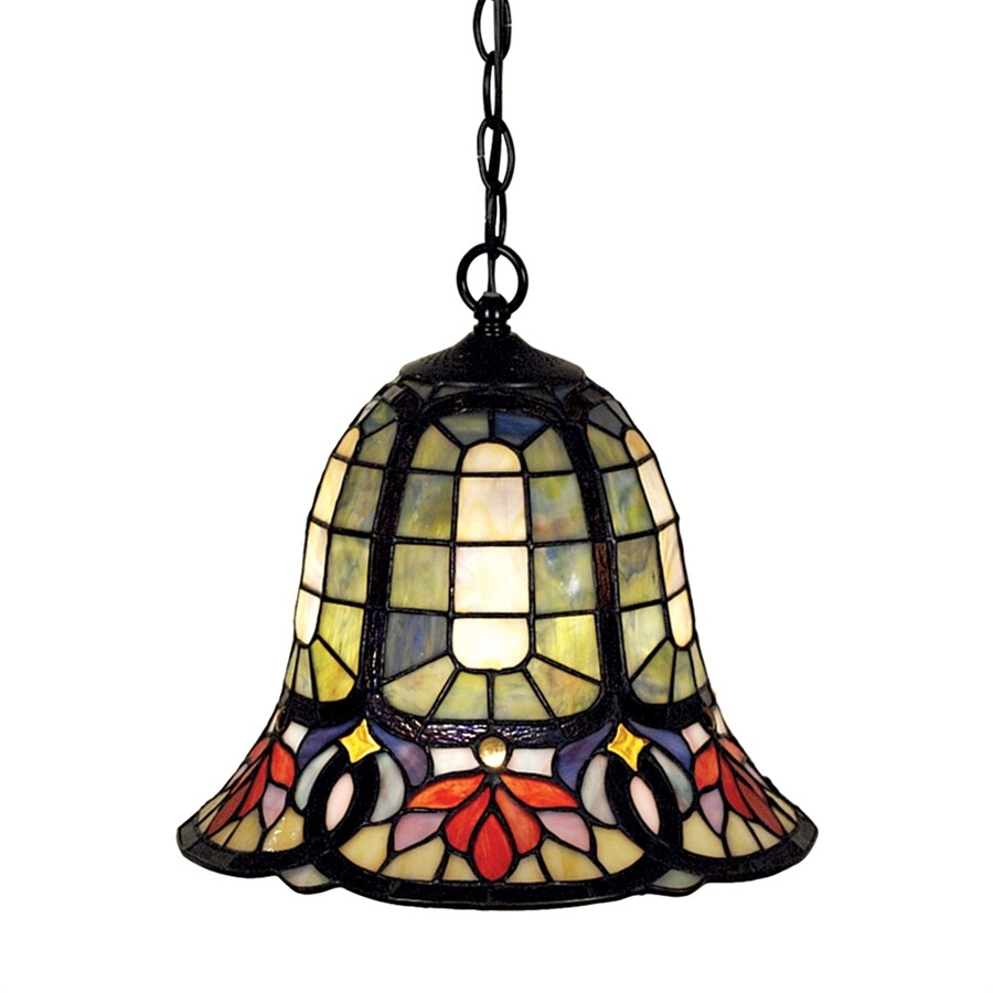Quoizel Hyacinth 12.25-in Vintage Bronze Tiffany-Style Single Stained Glass Bell Pendant