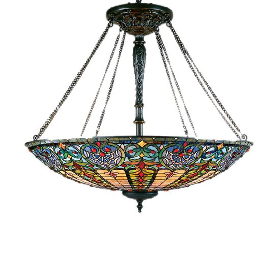 Quoizel Tiffany 40-in Vintage Bronze Tiffany-Style Single Stained Glass Bowl Pendant
