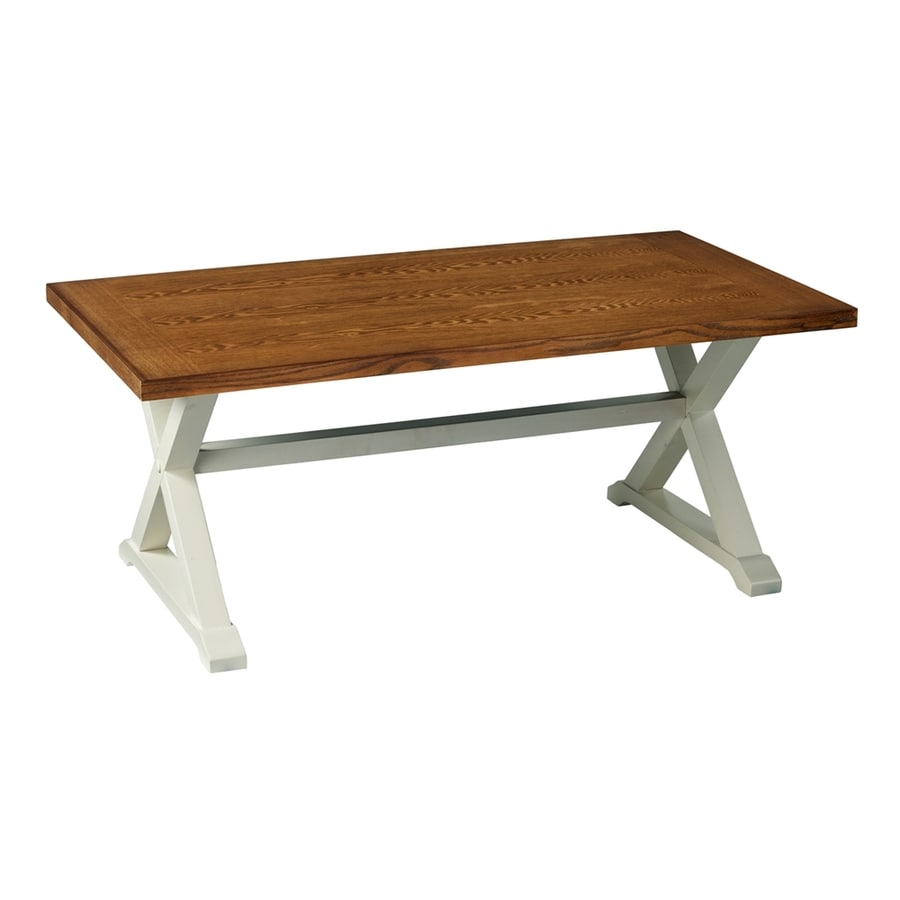 Boston Loft Furnishings Weathered Oak/Antique White Poplar Rectangular Coffee Table