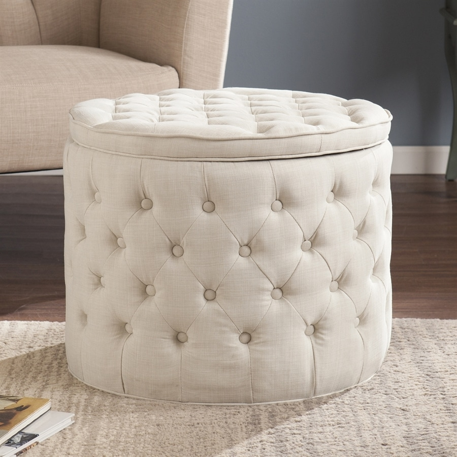 Boston Loft Furnishings Bartone Ivory Round Storage Ottoman