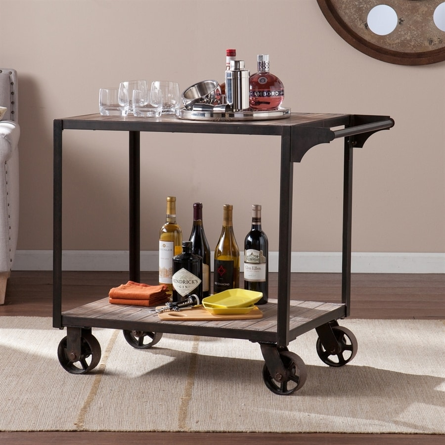 Boston Loft Furnishings Tolbert Aged Gray/Black Rectangular Kitchen Cart