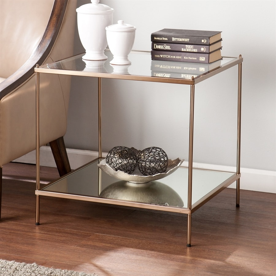 Merveilleux Boston Loft Furnishings Kili Metallic Gold Glass Modern End Table