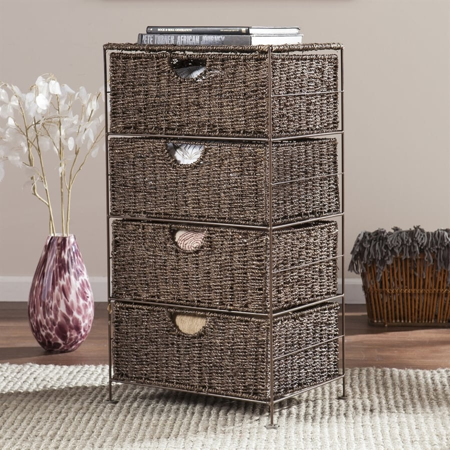 Boston Loft Furnishings 18.75-in W x 33.5-in H 4-Drawer Umber Brown Wicker Drawer