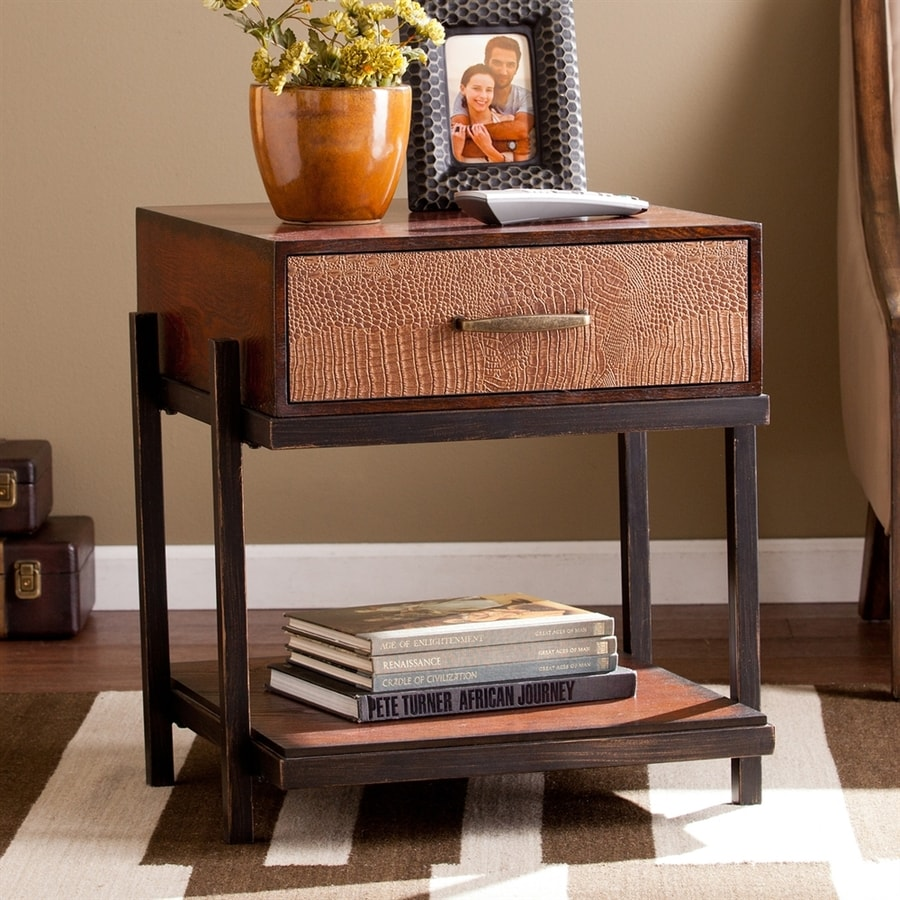 Boston Loft Furnishings Inas Red Washed Espresso/Copper Rectangular End Table
