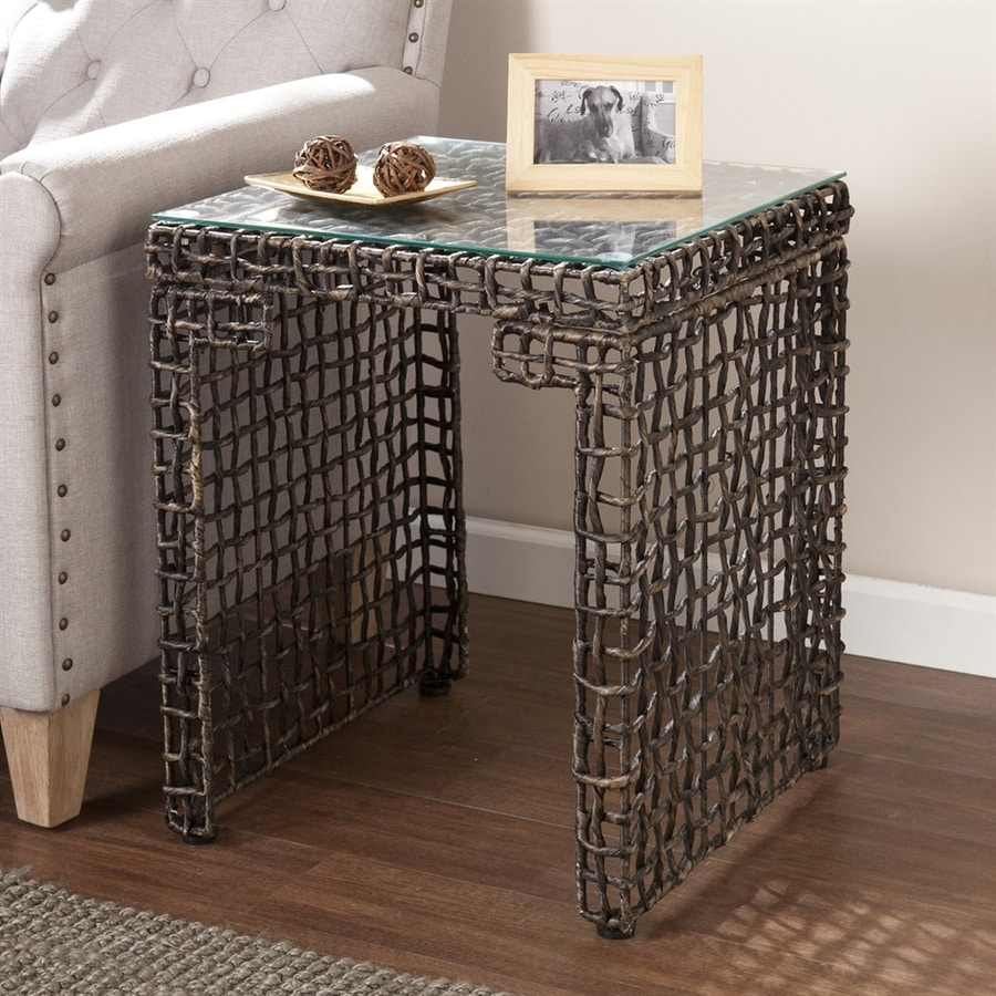 Boston Loft Furnishings Lorri Blackwashed Brown End Table