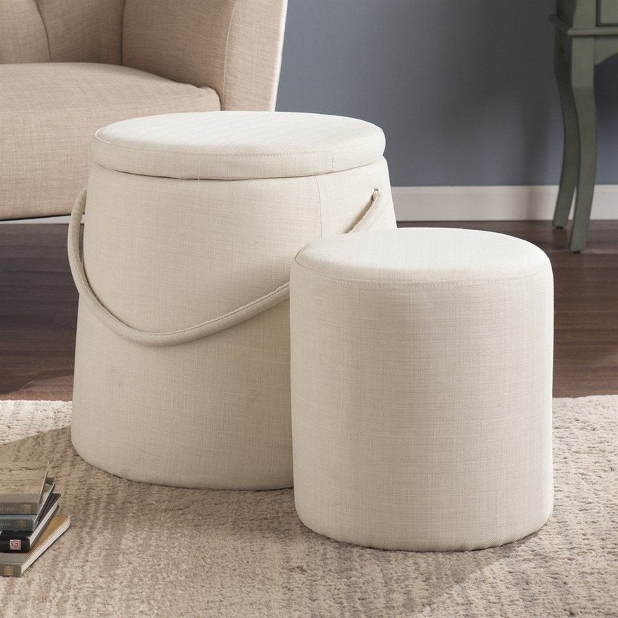 Boston Loft Furnishings Bickmore Ivory Round Storage Ottoman