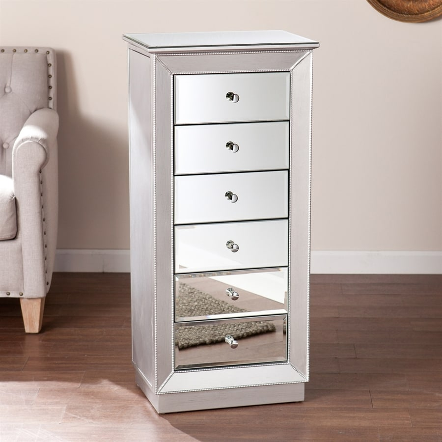 Boston Loft Furnishings Javlin Silver Floorstanding Jewelry Armoire