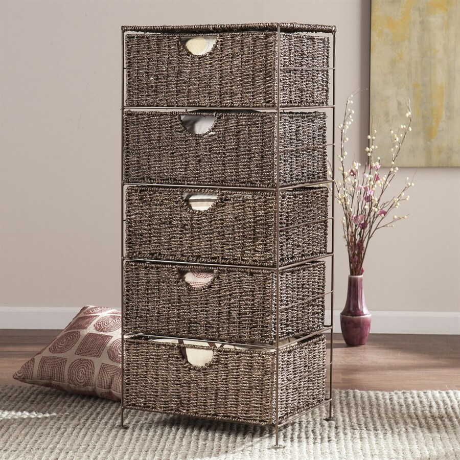 Boston Loft Furnishings 18.75-in W x 41.25-in H 5-Drawer Umber Brown Wicker Drawer