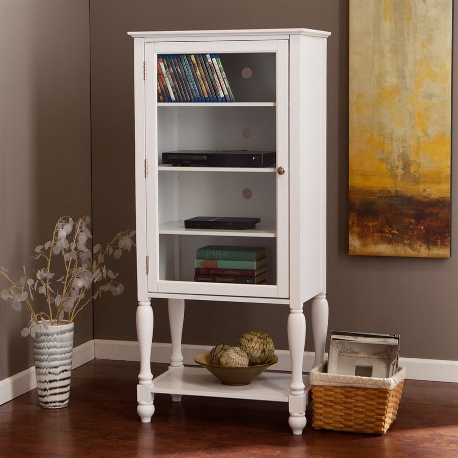 Boston Loft Furnishings Naomi White Wood Freestanding Media Cabinet