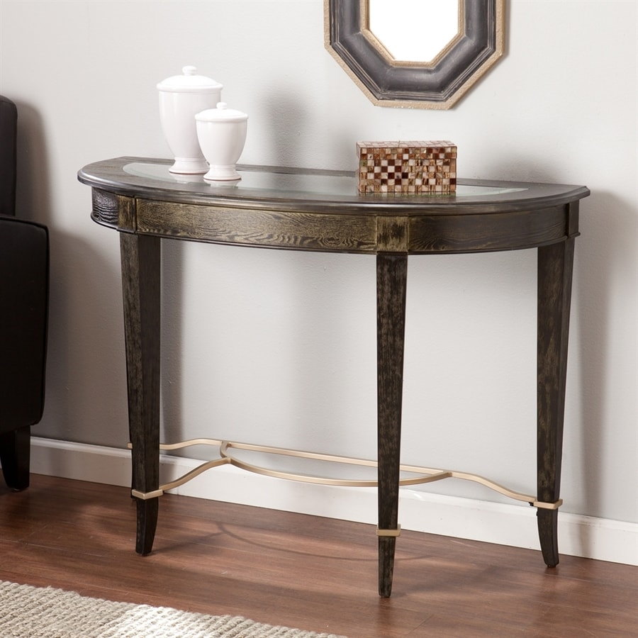 Boston Loft Furnishings Hollywood Goldwashed Black Poplar Half-Round Sofa Table