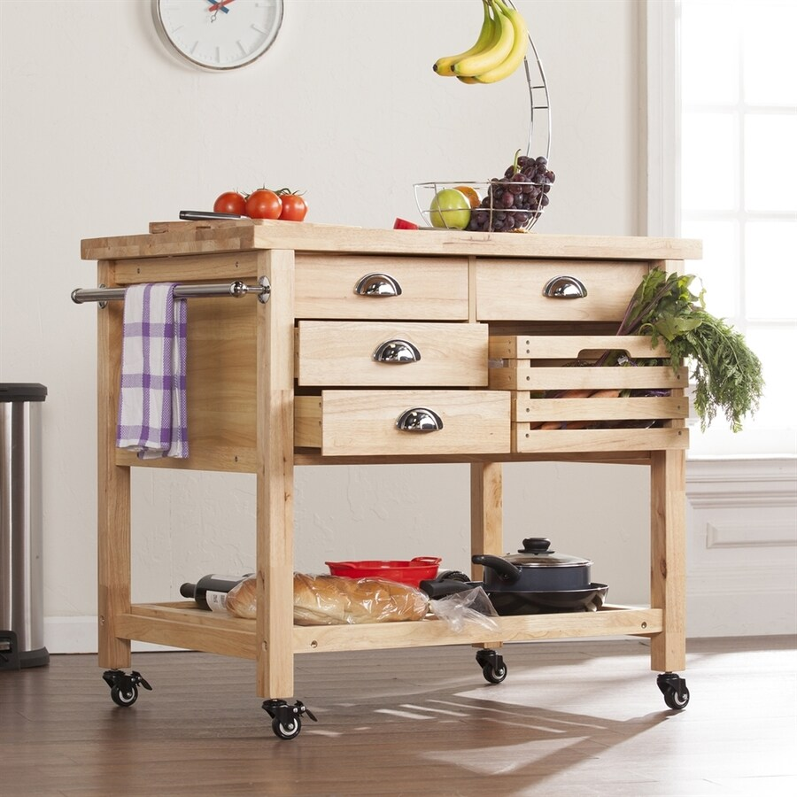 Boston Loft Furnishings Allenburg Natural Rectangular Kitchen Cart