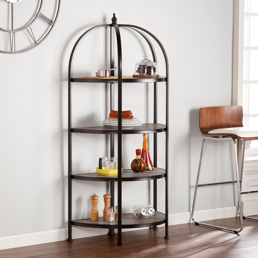 Shop Boston Loft Furnishings Marian Matte Black/Burnt Oak Metal Bakers Rack At Lowes.com