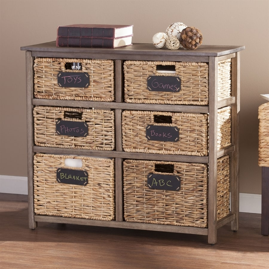 Boston Loft Furnishings 33.25-in W x 30-in H 6-Drawer Weathered Brown Wood Drawer