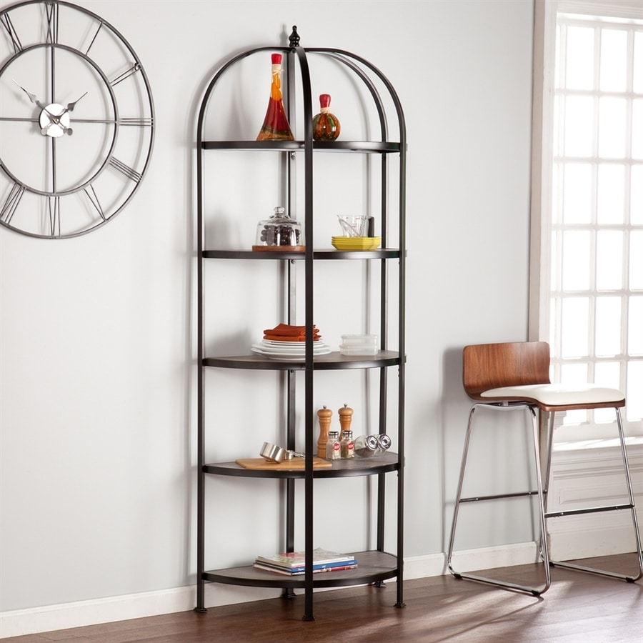 Shop Boston Loft Furnishings Marian Matte Black/Burnt Oak Half-Round Bakers Rack At Lowes.com