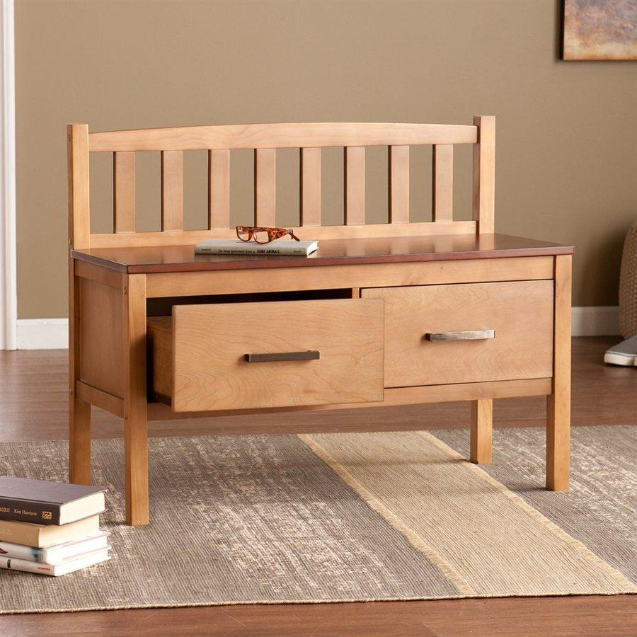 Boston Loft Furnishings Delilah Transitional Glazed Pine/Rich Walnut Storage Bench