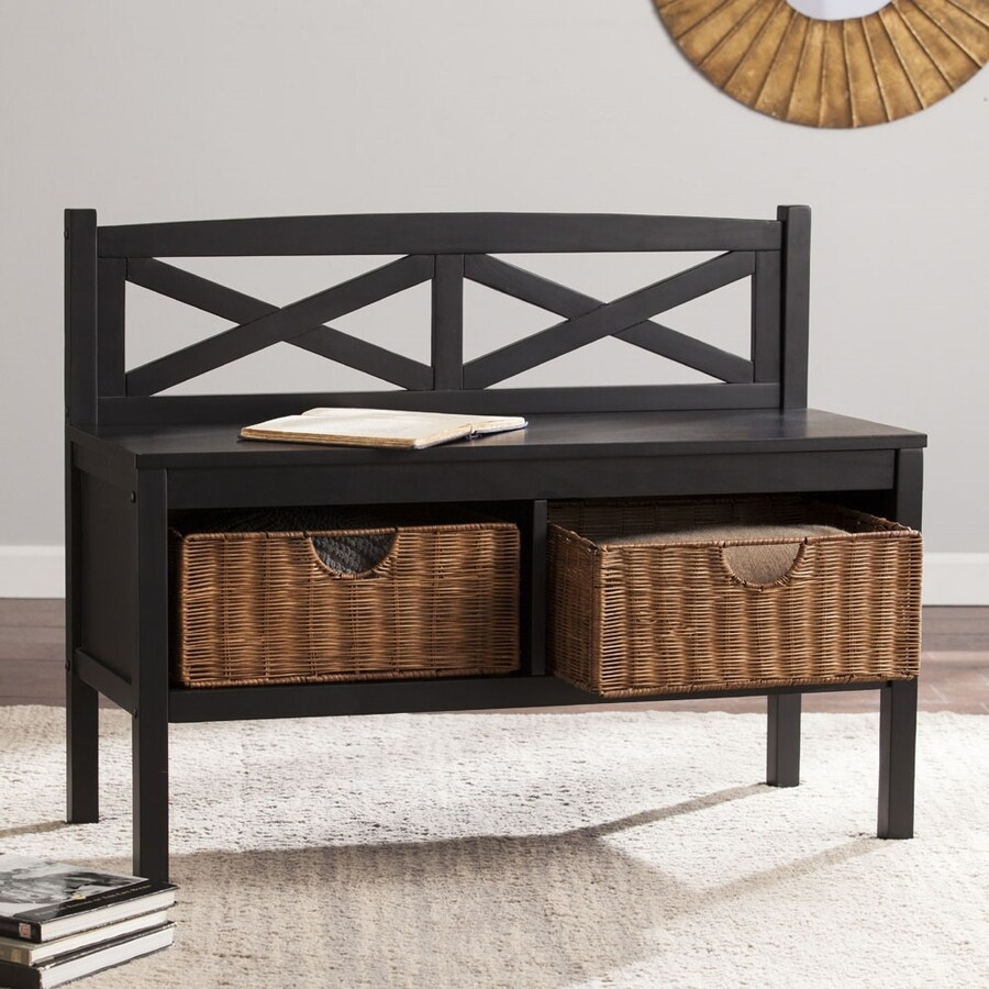 Boston Loft Furnishings Transitional Black Storage Bench