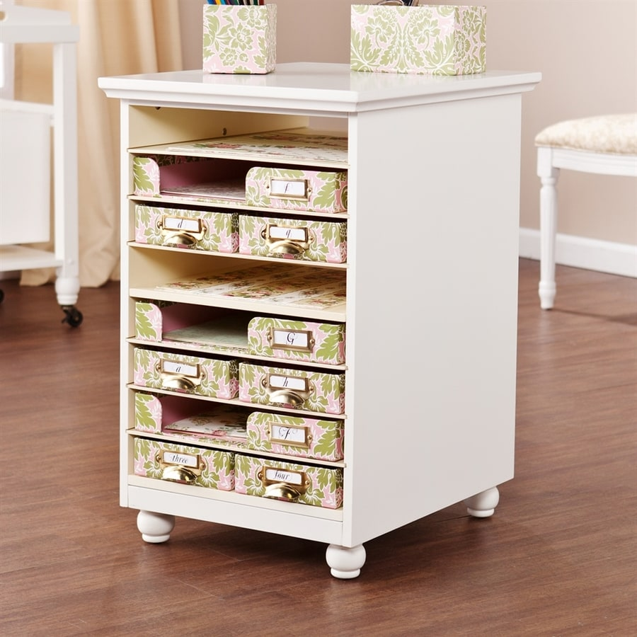 Boston Loft Furnishings 18-in W x 28.25-in H Antique White Wood Cart