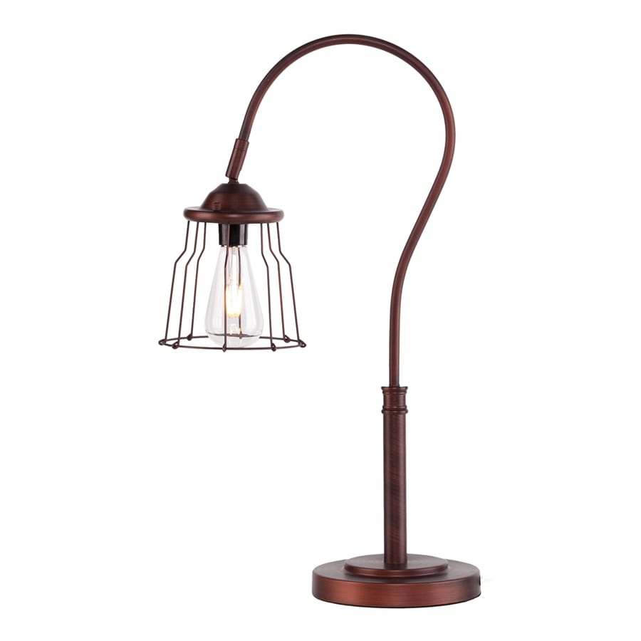 Boston Loft Furnishings Alana 25-in Coppery brushed bronze Electrical Outlet Downbridge Table Lamp with Metal Shade