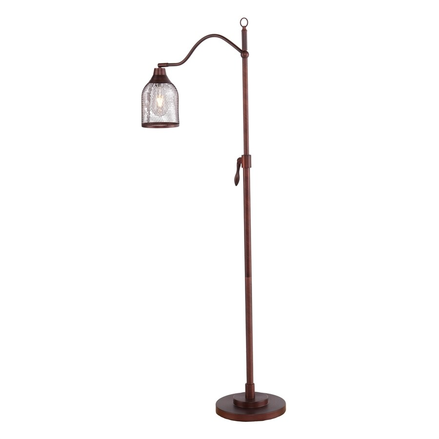 Boston Loft Furnishings Cogsworth 58.25-in Coppery brushed bronze Foot Switch Downbridge Floor Lamp with Metal Shade