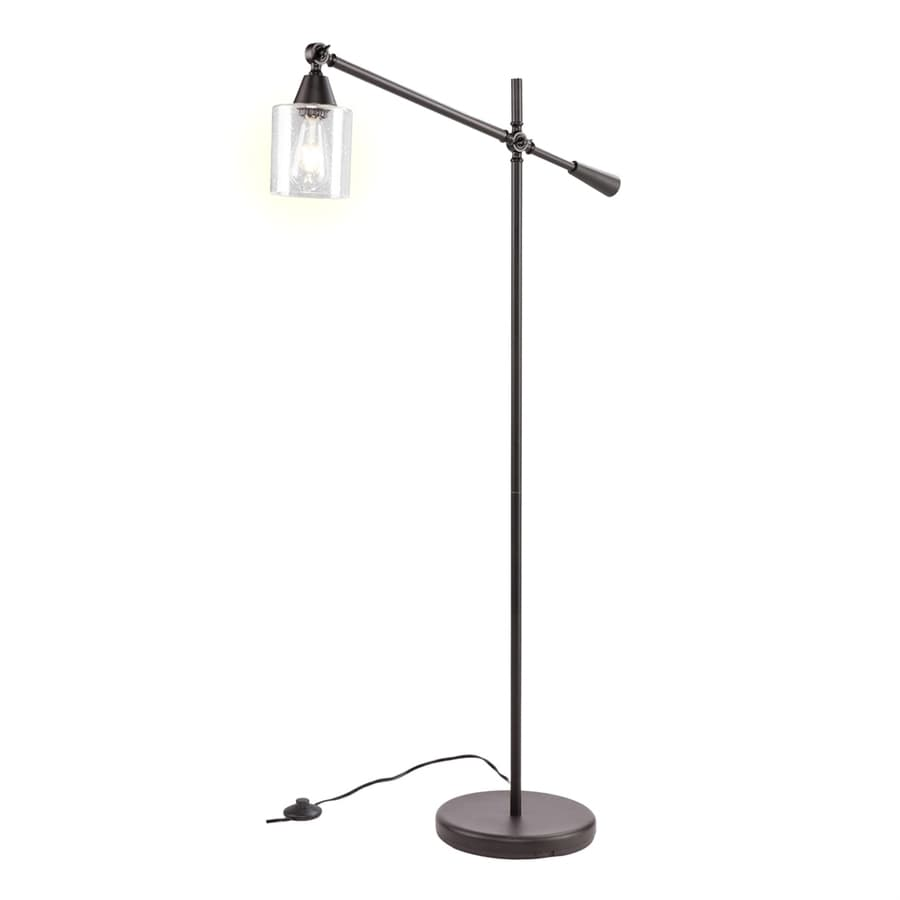 Boston Loft Furnishings LeFou 61.75-in Black Foot Switch Downbridge Floor Lamp with Glass Shade