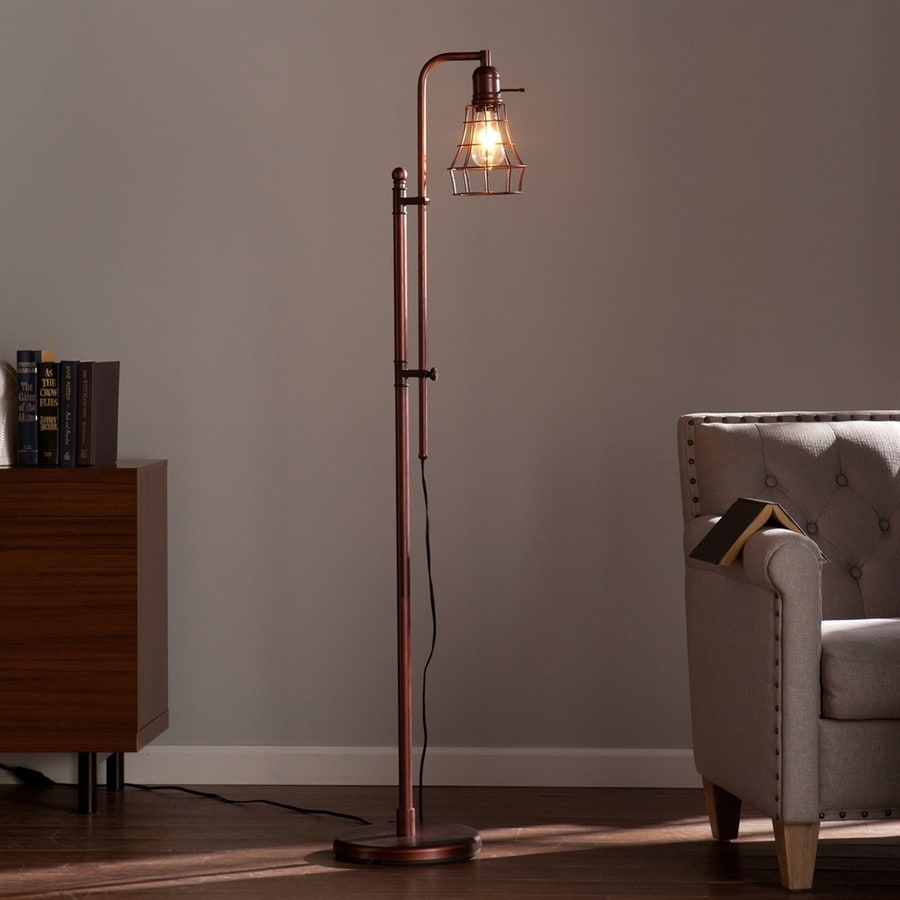 Boston Loft Furnishings Fynn 66-in Coppery Brushed Bronze Downbridge Indoor Floor Lamp with Metal Shade