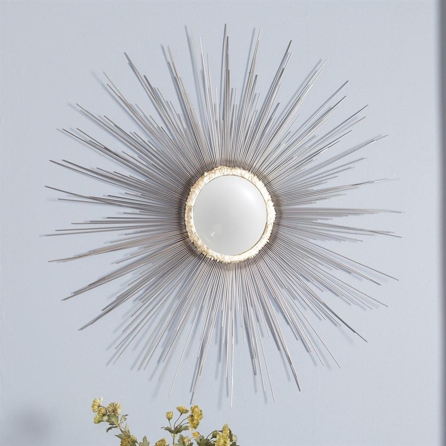 Boston Loft Furnishings Plitz 37-in x 37-in Matte Silver/Metallic Gold Round Framed Sunburst Wall Mirror