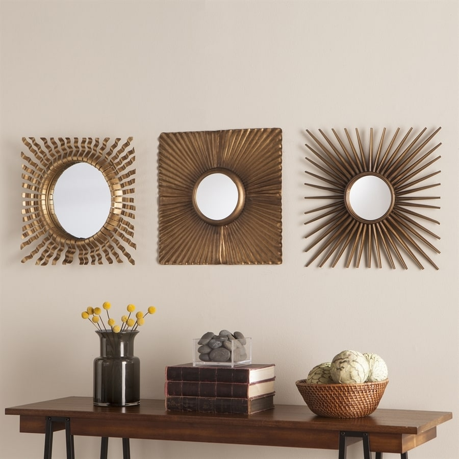 Boston Loft Furnishings Latrey 16-in x 16-in Antique Gold Beveled Square Framed Sunburst Wall Mirrors