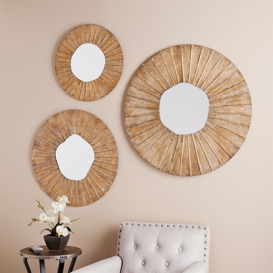 Boston Loft Furnishings Layla 32-in x 25.25-in Antique Gold Beveled Round Framed Sunburst Wall Mirror