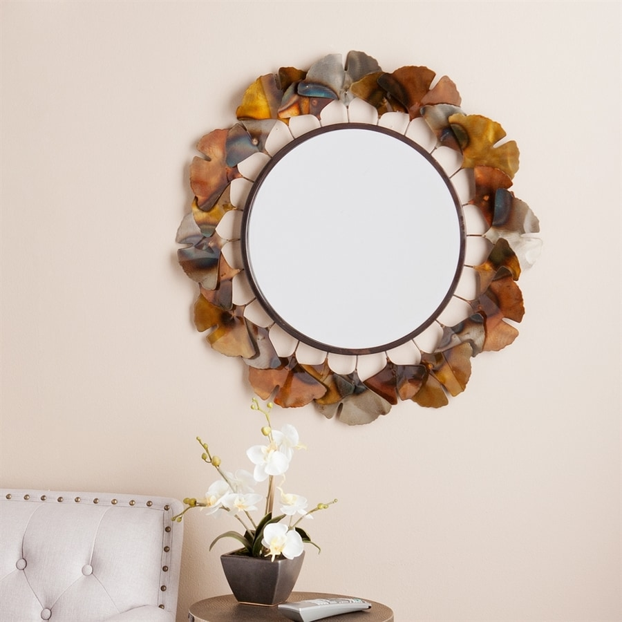 Boston Loft Furnishings Ellis 29.25-in x 29.25-in Metallic Bronze Beveled Round Framed Wall Mirror