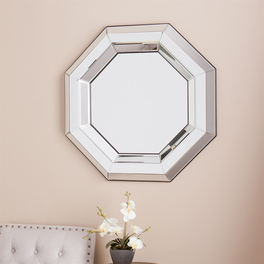 Antique Beveled Mirror 12 Sided. Marked on Back with the number: This Mirror needs a large repair on the middle left side.