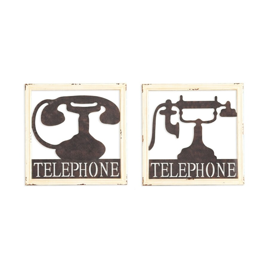 Boston Loft Furnishings Monstar 2-Piece 15.75-in W x 15.75-in H Framed Metal Telephone Sign Wall Art