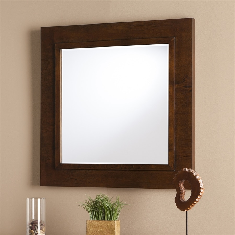Boston Loft Furnishings Drewson Oak Saddle Beveled Square Wall Mirror