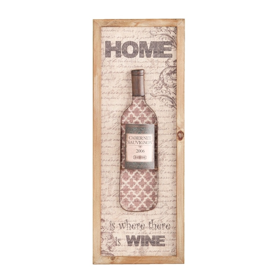 Boston Loft Furnishings Namor 1-Piece 12-in W x 31.5-in H Framed MDF Wine Bottle 3D Wall Art
