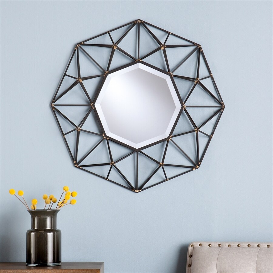 Boston Loft Furnishings Benson 26.25-in x 26.25-in Black Beveled Octagon Framed Contemporary Wall Mirror