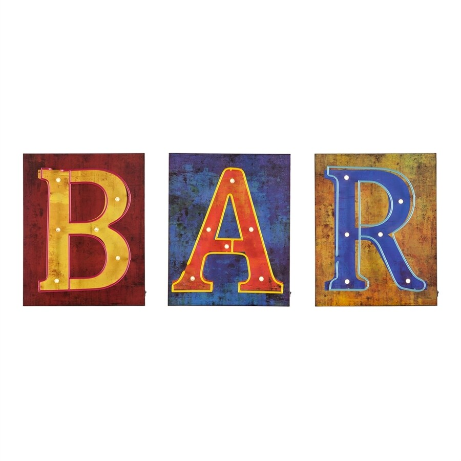 Boston Loft Furnishings 3-Piece 16.25-in W x 19.75-in H Frameless MDF Bar Sign Wall Art