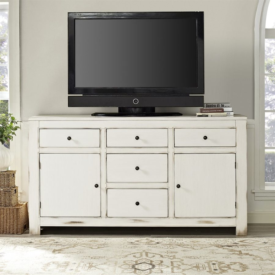 Crosley Furniture Kendall Antique White Rectangular TV Cabinet