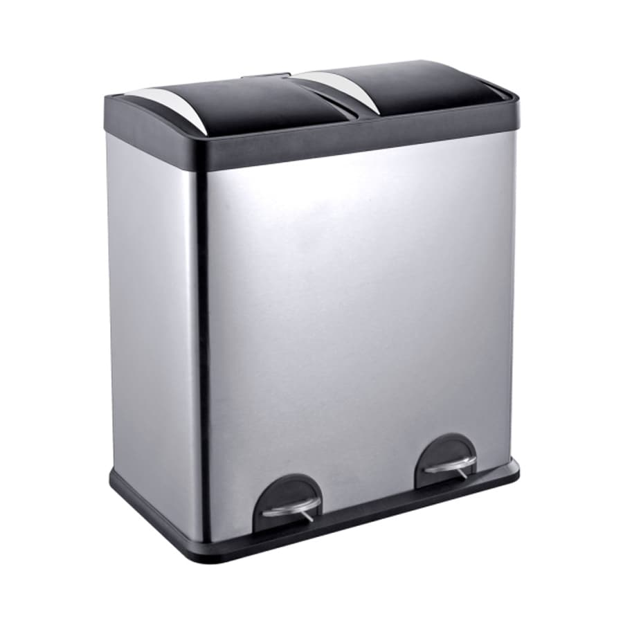 Shop Step N\' Sort 16-Gallon Silver Steel Trash Can with Lid at Lowes.com