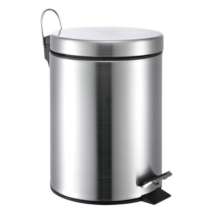 Hopeful Enterprises 5 Liter Satin Steel Residential Indoor Trash Can with Lid