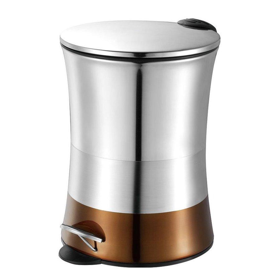 Hopeful Enterprises 5 Liter Bronze Steel Residential Indoor Trash Can with Lid