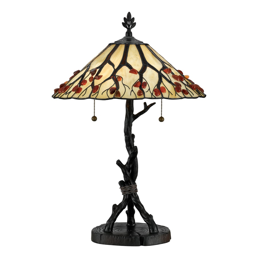 Quoizel Whispering Wood 25-in Valiant Bronze Tiffany-Style Indoor Table Lamp with Glass Shade