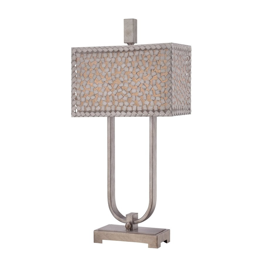 Quoizel Confetti 29.5-in 3-Way Old Silver Indoor Table Lamp with Fabric Shade