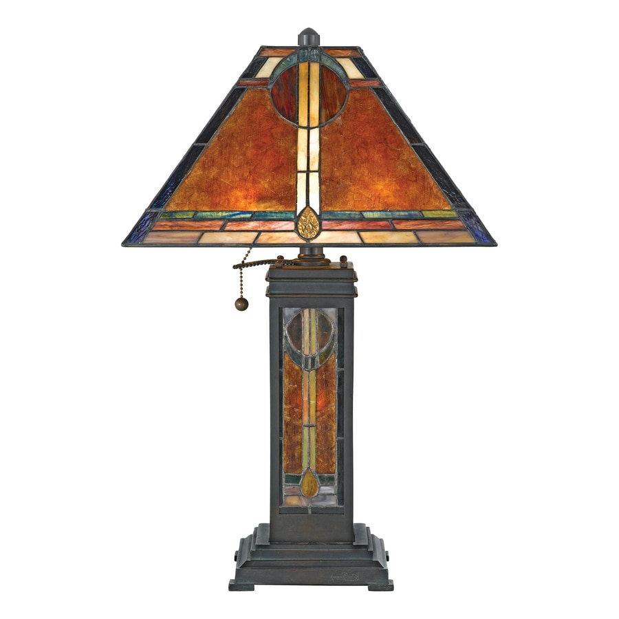 Quoizel 23-in 3-Way Valiant Bronze Tiffany-Style Indoor Table Lamp with Glass Shade