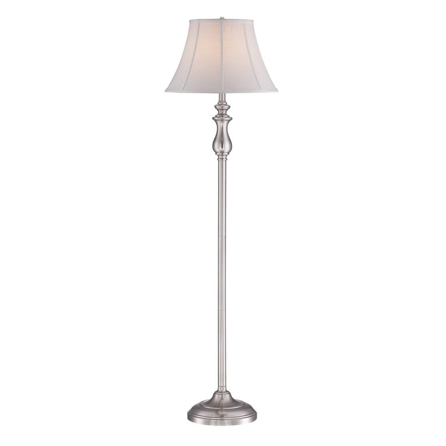 Quoizel Stephen 60-in Brushed Nickel 4-Way Floor Lamp with Fabric Shade