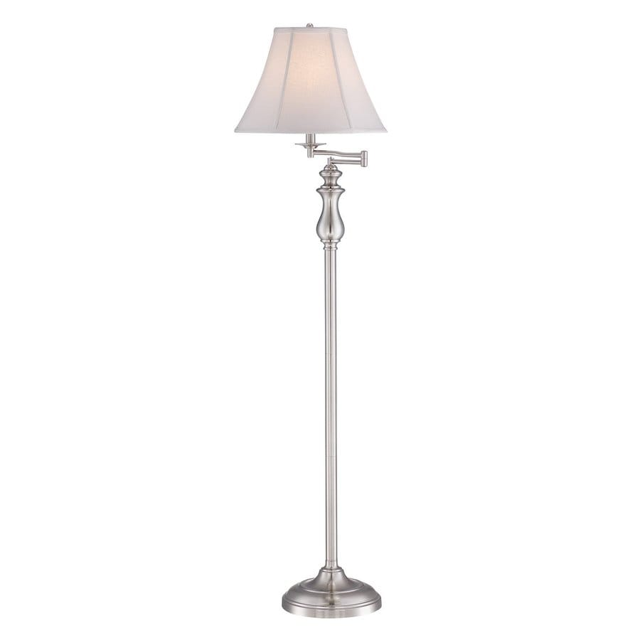 Quoizel 61-in Brushed Nickel 4-Way Swing-Arm Floor Lamp with Fabric Shade