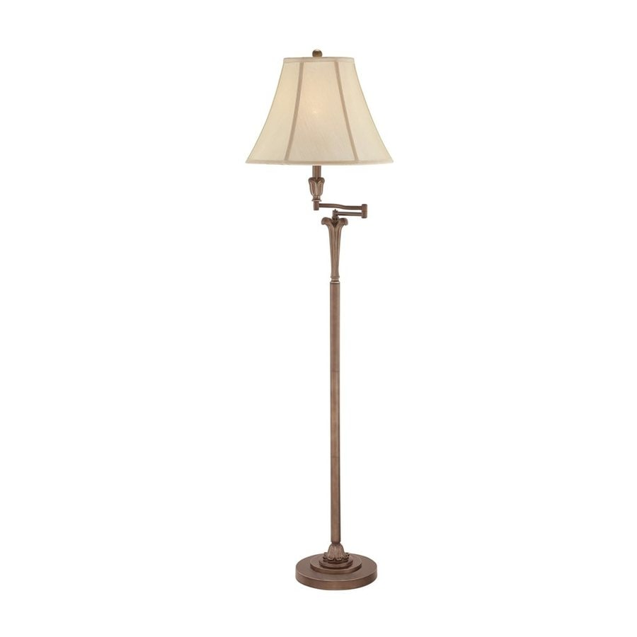 Quoizel Archer 61-in Palladian Bronze 4-Way Swing-Arm Floor Lamp with Fabric Shade