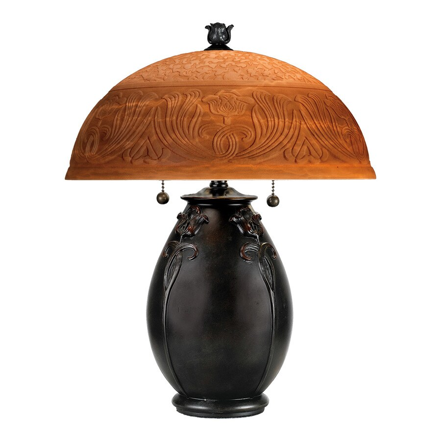 Quoizel Glenhaven 17.8-in Teco Rossa Table Lamp with Glass Shade