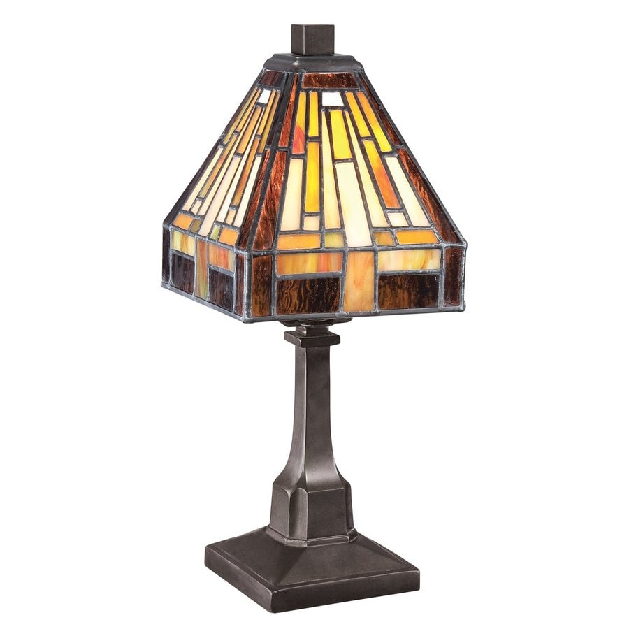Quoizel Stephen 11.5-in Vintage Bronze Tiffany-Style Indoor Table Lamp with Glass Shade (Set Of 4)